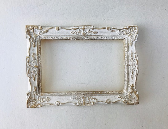 Ornate Rectangular Frame in Cream and Gilt
