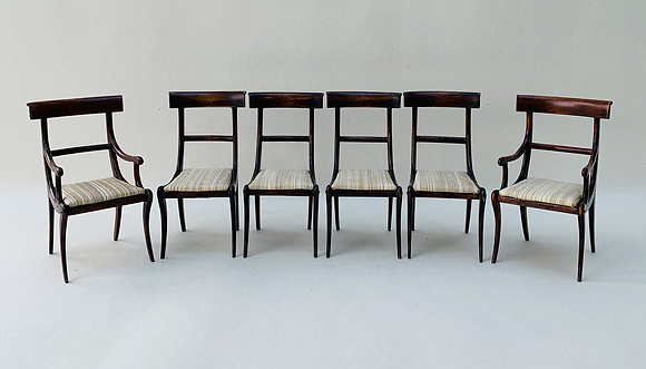Set of 4 Sabre Leg Chairs and 2 Sabre Leg Carvers (last available set of these )