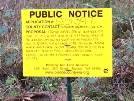 Regarding Bonney Lake 26 Preliminary Plat