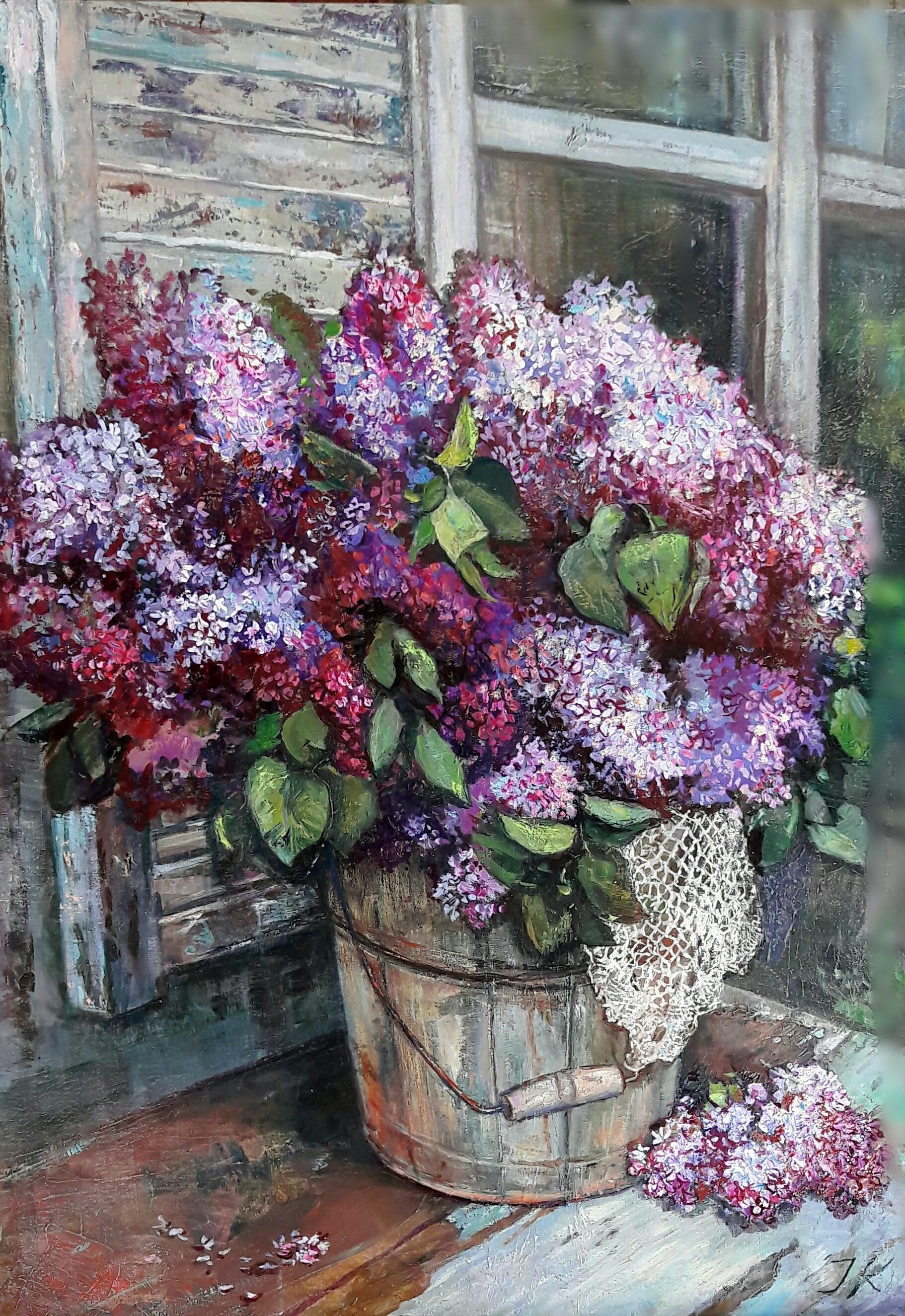 Finestra con fiori di lillà