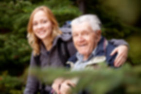 A portrait of a granddaughter and grandf