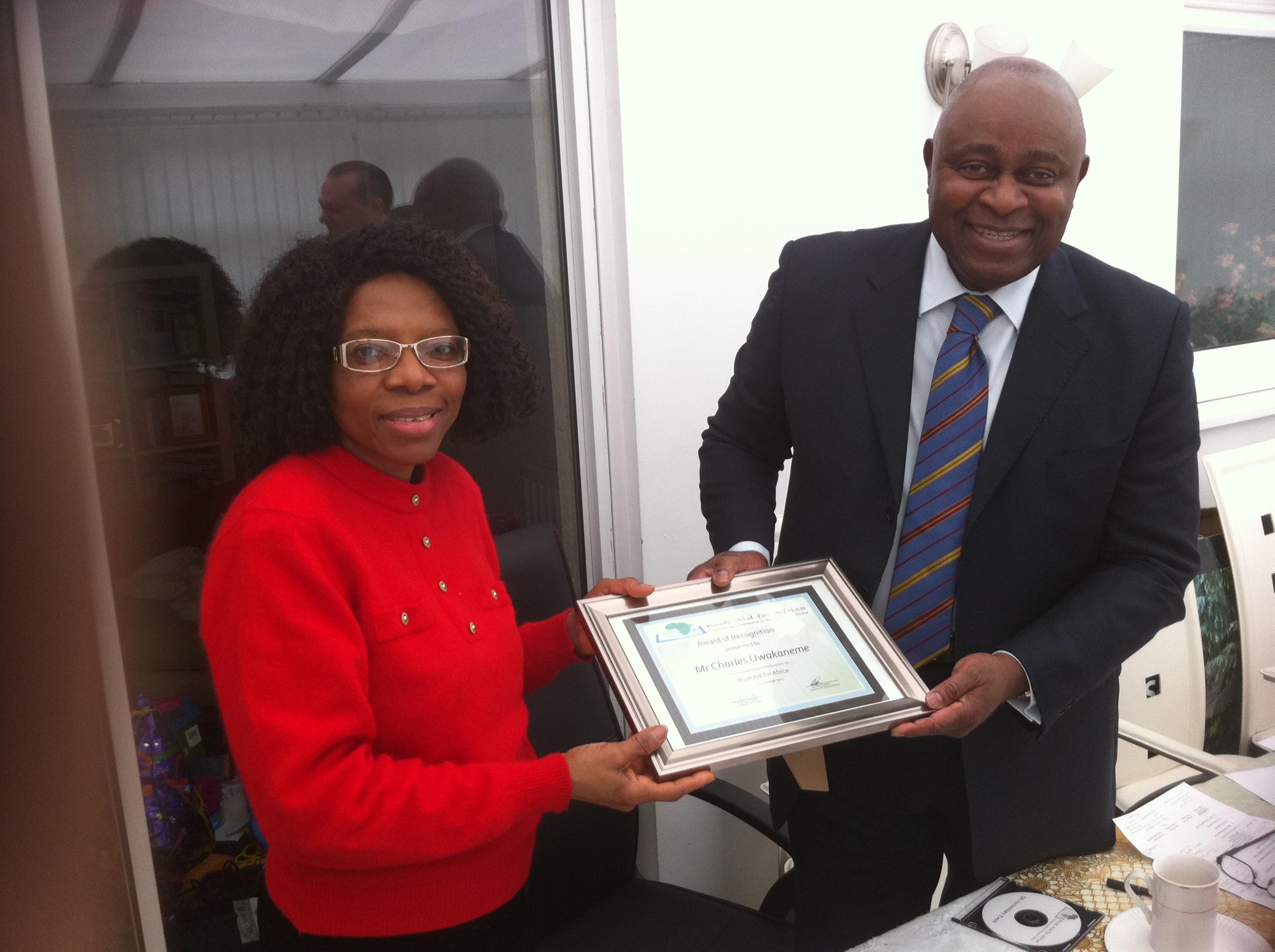 Ngozi Presenting a Certificate-BAFA