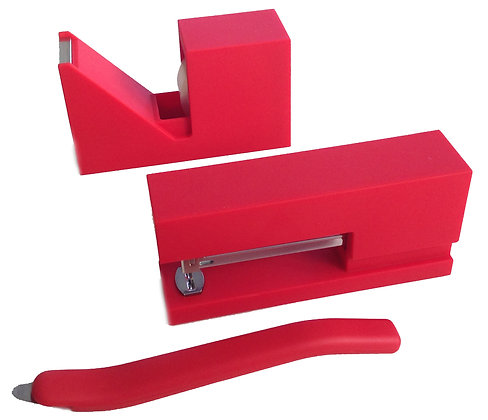 Red Rubberized Stationery Set