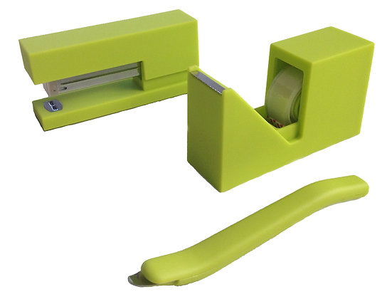 Lime Rubberized Stationery Set
