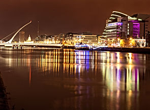 View of Liffey river at night in Dublin,