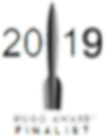 """A stylized rocket with the year 2019 and the words """"Hugo Award finalist""""."""