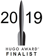 "A stylized rocket with the year 2019 and the words ""Hugo Award finalist""."