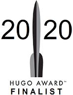 "A stylized rocket with the year 2020 and the words ""Hugo Award finalist""."
