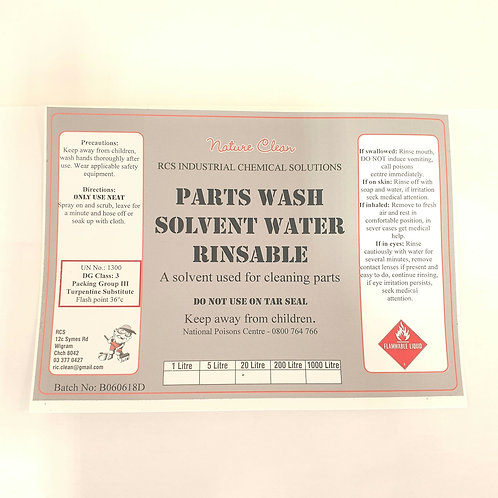 Parts Wash Solvent (Water Rinsable)