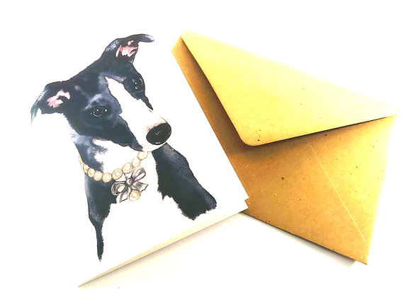 Blue Whippet Greetings Card