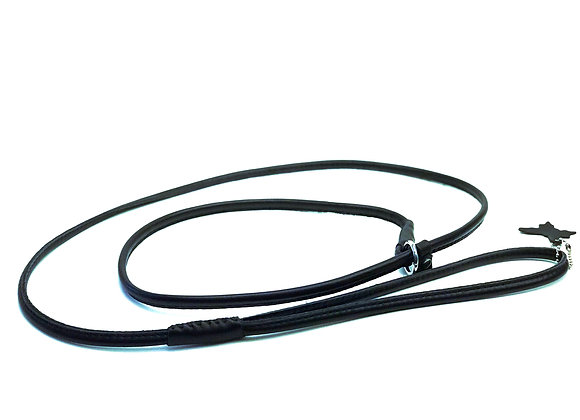 Rolled Leather Show Lead - Black