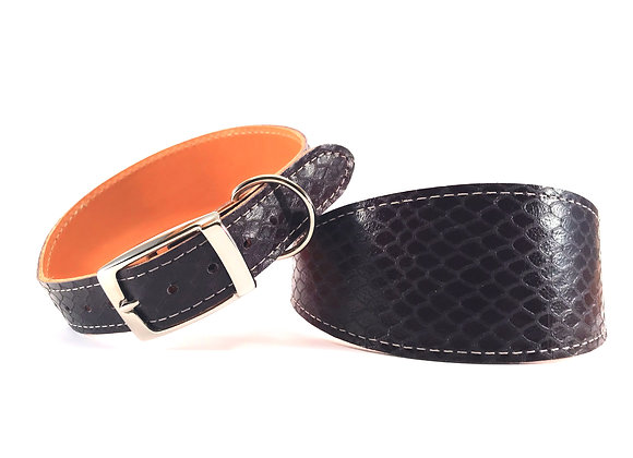 Greyhound Leather Lined Collar 'Shiraz'