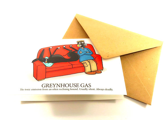 Greynhouse Gas Greetings Card Rich Skipworth