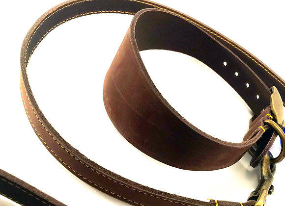 Ancol Timberwolf Leather Greyhound Collar and Lead - Sable