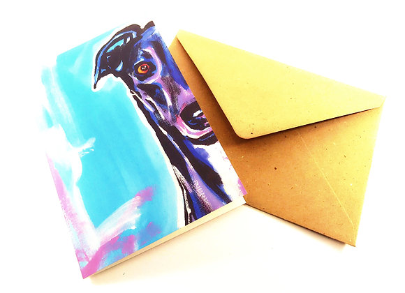 Greyhound Greetings Card Colour Pop