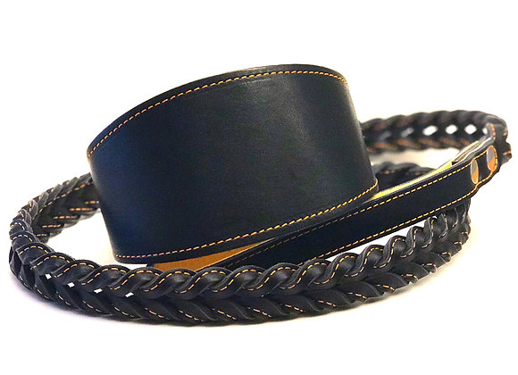 Black 4 ft Braided Leather Lead With Greyhound Collar
