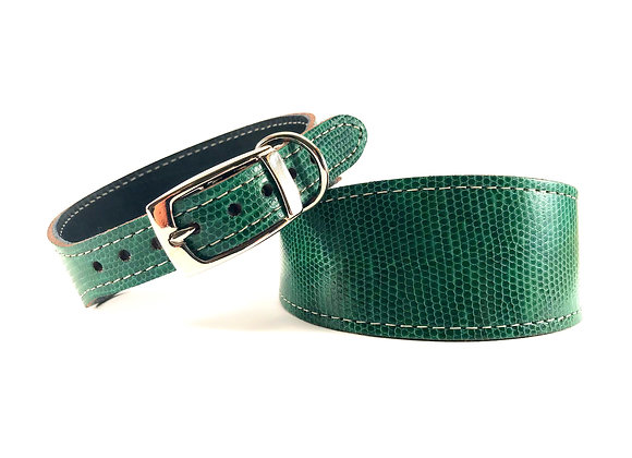 Whippet Leather Lined Collar 'Shamrock'