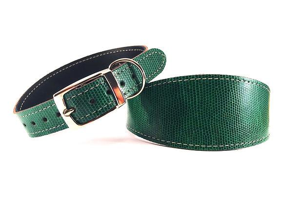 Greyhound Leather Lined Collar 'Shamrock'