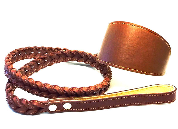 Brown 4 ft Braided Leather Lead With Greyhound Collar