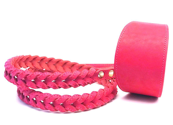 Pink 4 ft Braided Leather Lead With Greyhound Collar