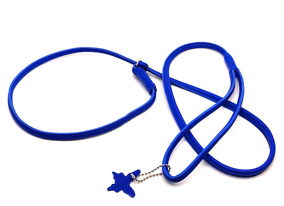 Rolled Leather Show Lead - Blue