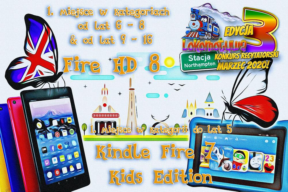 Kindle HD 8 dla Zdobywców I miejsc w kategorii III i Kindle Fire 7 for Kids w nagrodę za najpiękniejszy występ w kategorii dla maluchów!