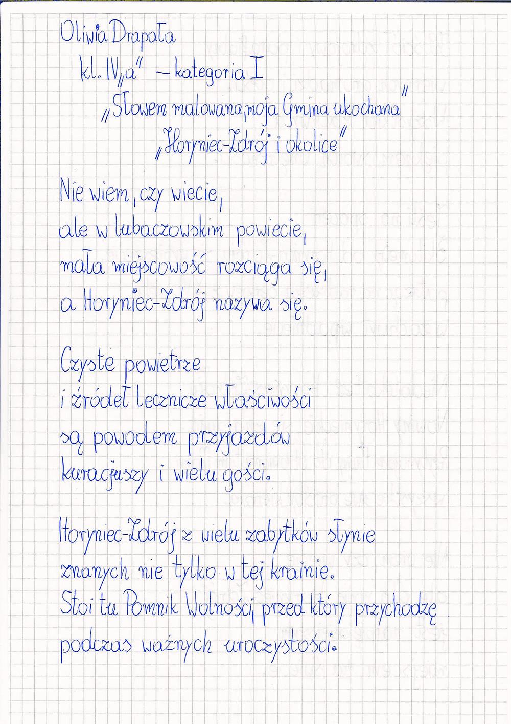 """Oryginał wiersza """"Horyniec-Zdrój i okolice"""" Oliwii Drapały..."""