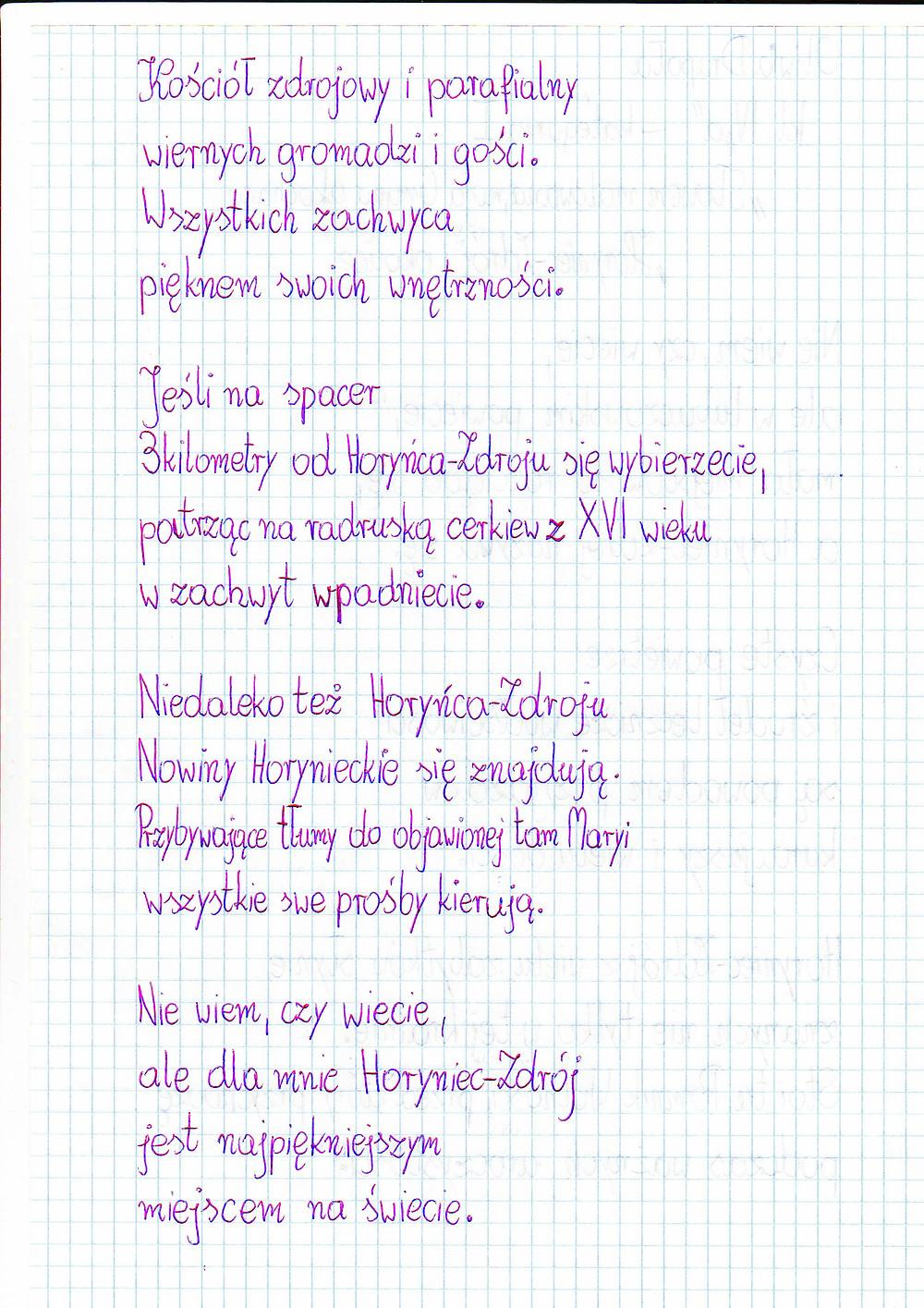 """...nadesłany na konkurs """"Przystanek Horyniec 2019"""" - """"Co w sercu, to na papierze""""."""