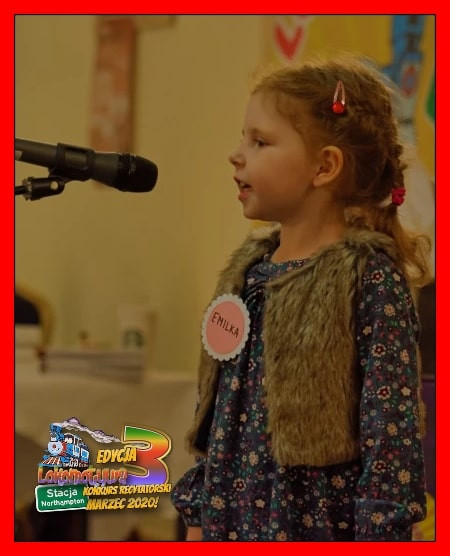 """Pięcioletnia Emilka z wierszem """"Idzie Grześ..."""", za recytację którego zajęła I miejsce w II Edycji Konkursu w kategorii do lat 5!"""