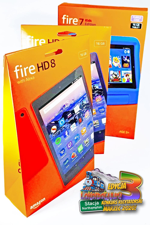 Lokomotywa przygotowała nie lada gratkę dla zdobywców I Miejsc w III Edycji Konkursu! Kindle Fire 7 for Kids dla Laureata lub Laureatki kategorii do lat pięciu i Kindle Fire 8 HD dla najlepszych Wykonawców w pozostałych kategoriach!