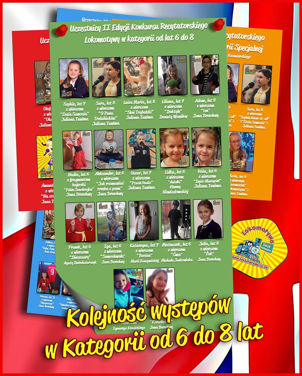 Kolejność występów Dzieci w Kategorii od lat 6 do 8 - II Edycja Konkursu Recytatorskiego Lokomotywy