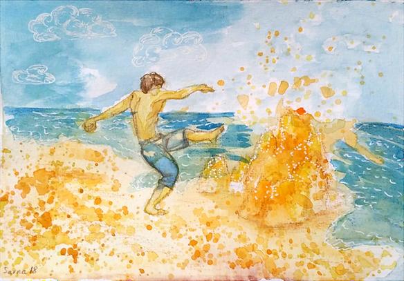 """Ilustracja do wiersza """"Krzyś"""", Diana Borowska"""
