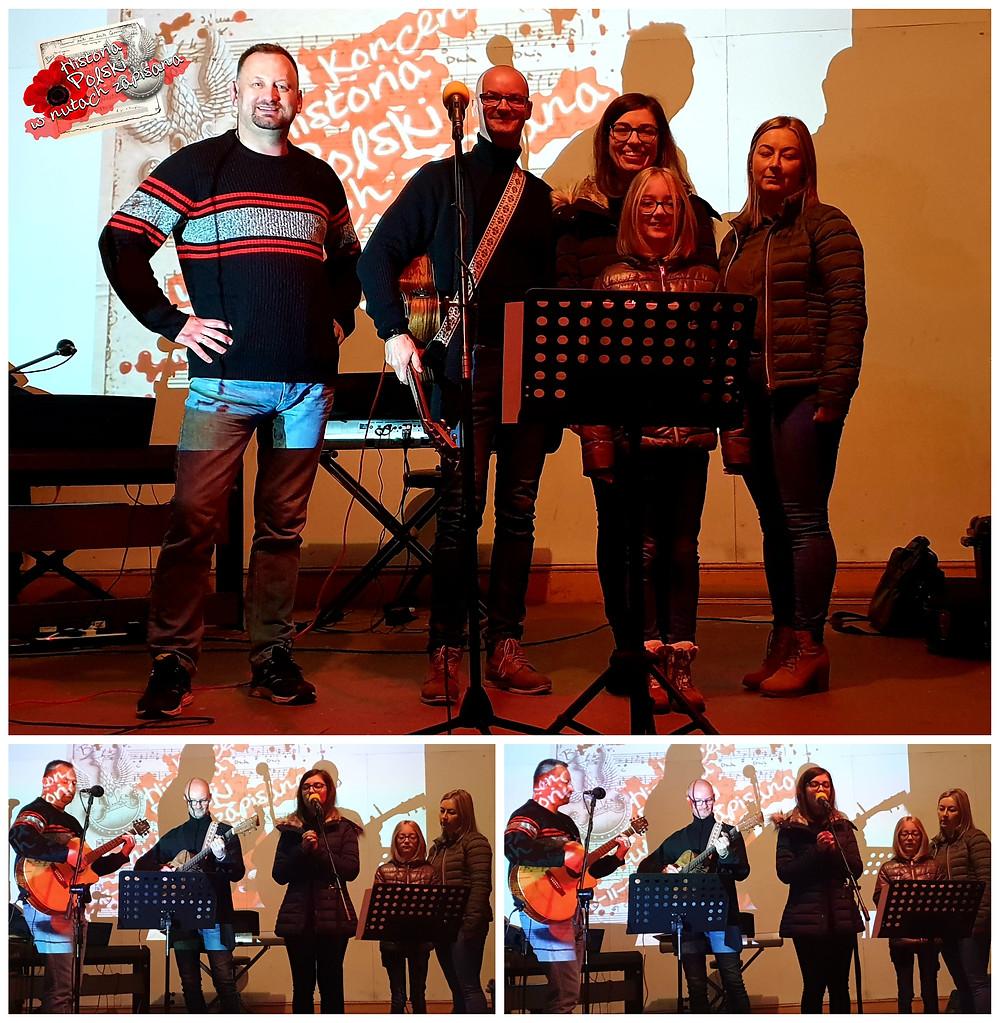 Bogusław Janowski (BakSound), Mariusz Arapinowicz, Marta Sokołowska, Nicolka Gawłowska i Justyna Zalewska w trakcie próby wyjątkowego wykonania piosenki napisanej do wiersza poetki Heleny Wyrzykowskiej.
