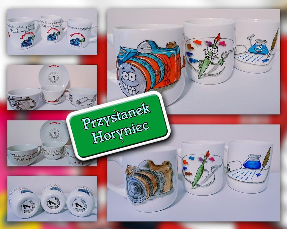 Pamiątkowe pięknie, ręcznie malowane kubeczki oraz filiżaneczki ze spodeczkami, które przygotowała - i ufundowała - dla naszych Laureatów Agnieszka Ekstowicz z  Enchanted Petals Gift Shop.