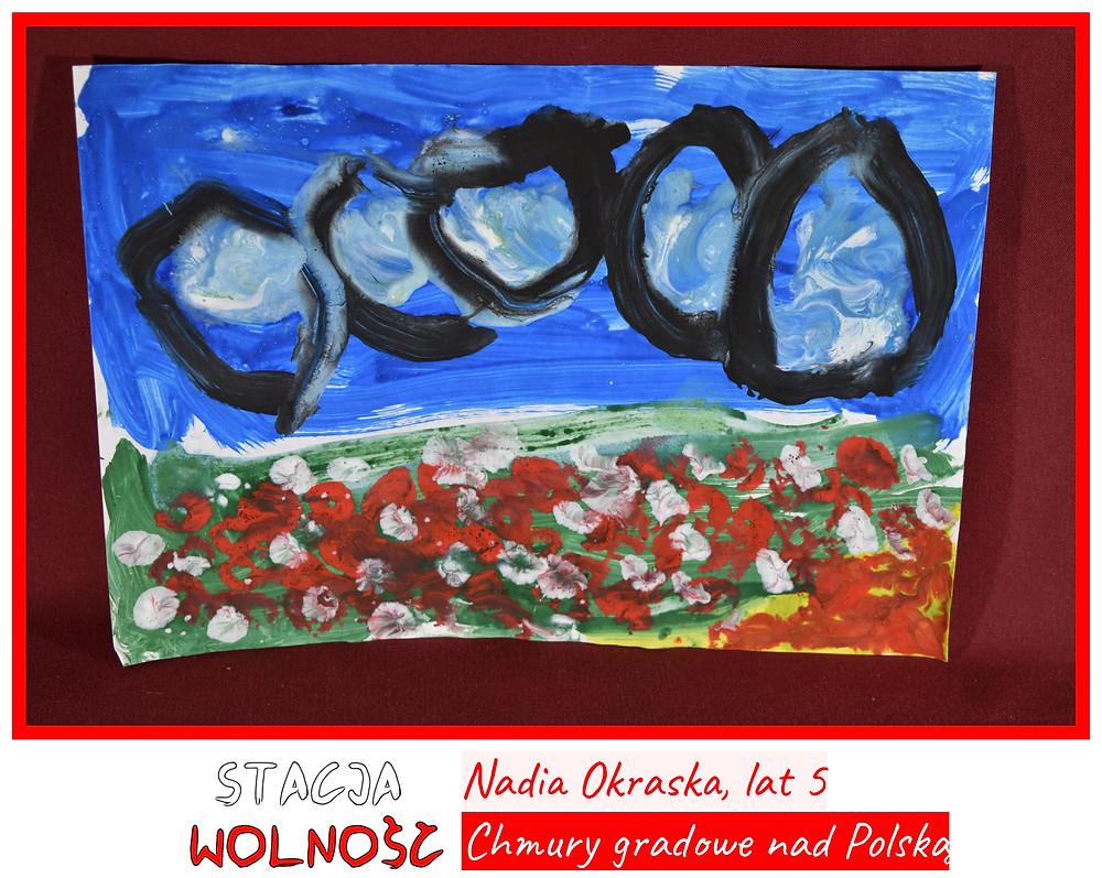 """""""Chmury gradowe nad Polską"""" - praca Nadii nagrodzona II miejscem w Konkursie """"Historia Polski pędzlem malowana""""."""