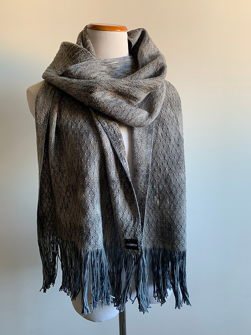 CHARCOAL SKIP WEAVE SCARF - CAMEL WEFT