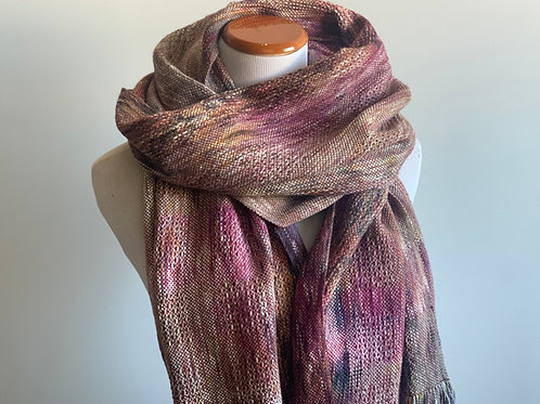 BLUEBERRY SCARF - BROWN & MAGENTA ALPACA/SILK WEFT