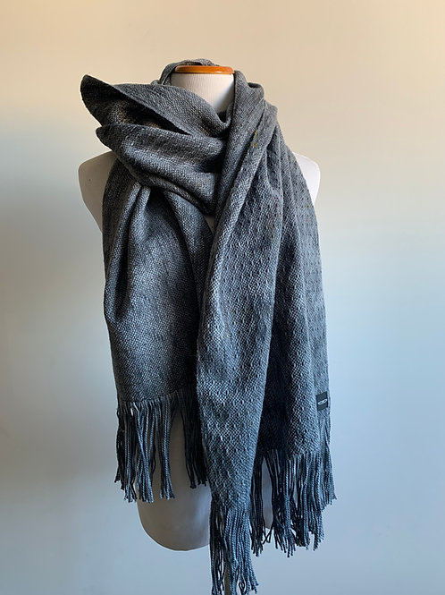 CHARCOAL SKIP WEAVE SCARF - CHARCOAL WEFT