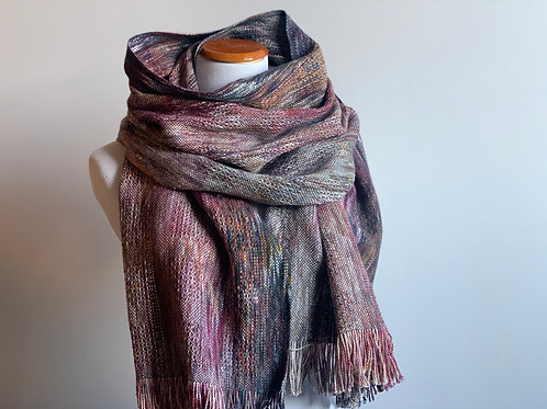 BLUEBERRY SCARF - CHARCOAL/MULBERRY ALPACA/SILK WEFT