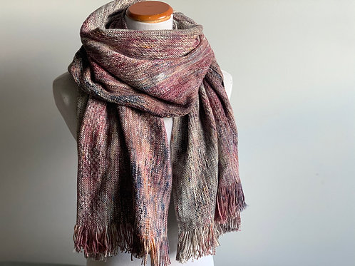 BLUEBERRY SCARF - SPECKLY GREY COTTON WEFT