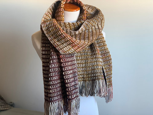 WAFFLE SCARF - GOLDEN BROWN/BROWN WOOL WEFT