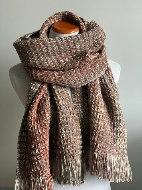 WAFFLE SCARF - TAUPE WOOL WEFT