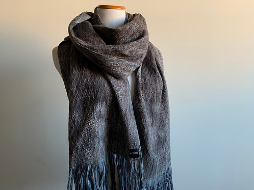CHARCOAL SKIP WEAVE SCARF - BROWN WEFT