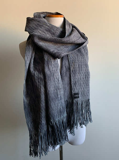 CHARCOAL SKIP WEAVE SCARF - LILAC WEFT