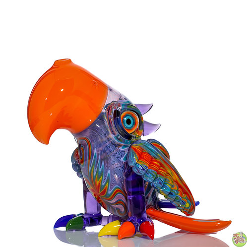 RJ Glass Rainbow Line Work Macaw Birdie