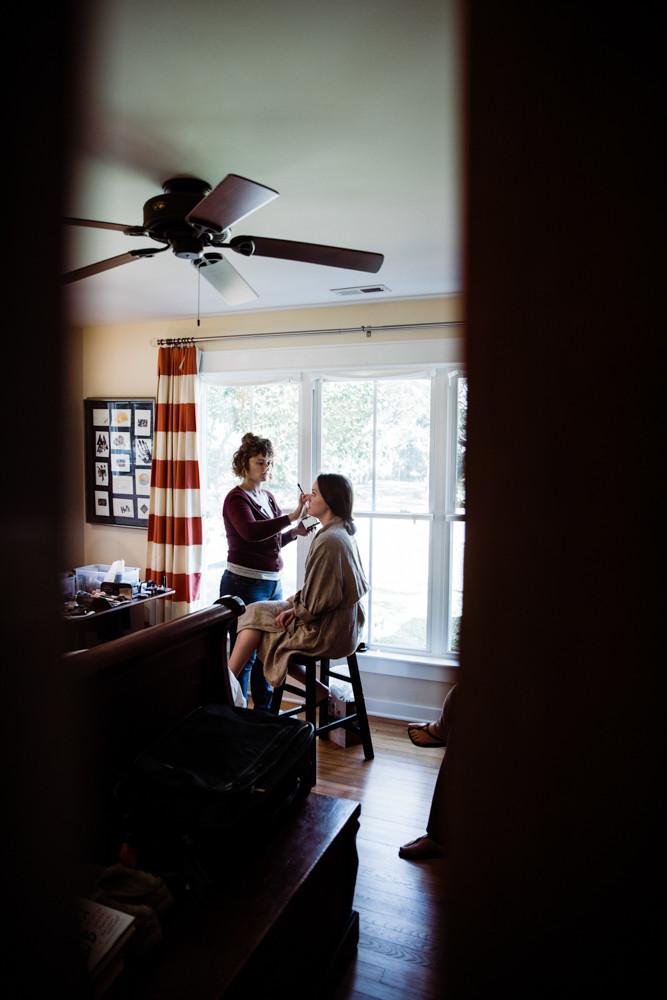 Bride getting make up done. Jessica Hilton Portland Oregon Wedding Photographer