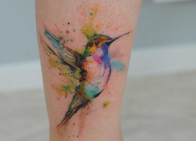 watercolor tattoo hummingbird