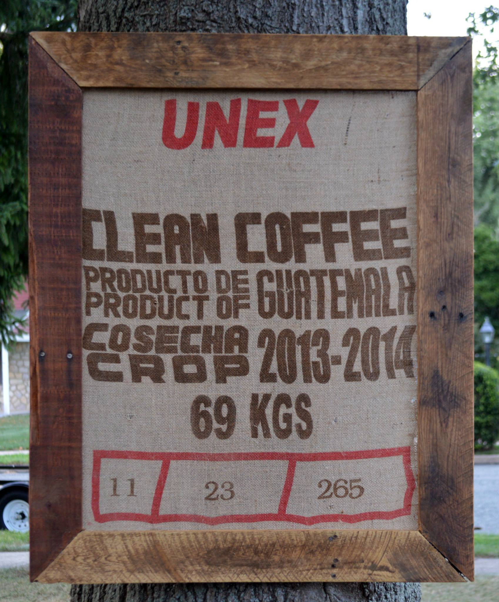Framed Reclaimed Coffee Burlap