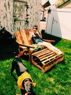 Love Seat Lounge Chair w/ottoman
