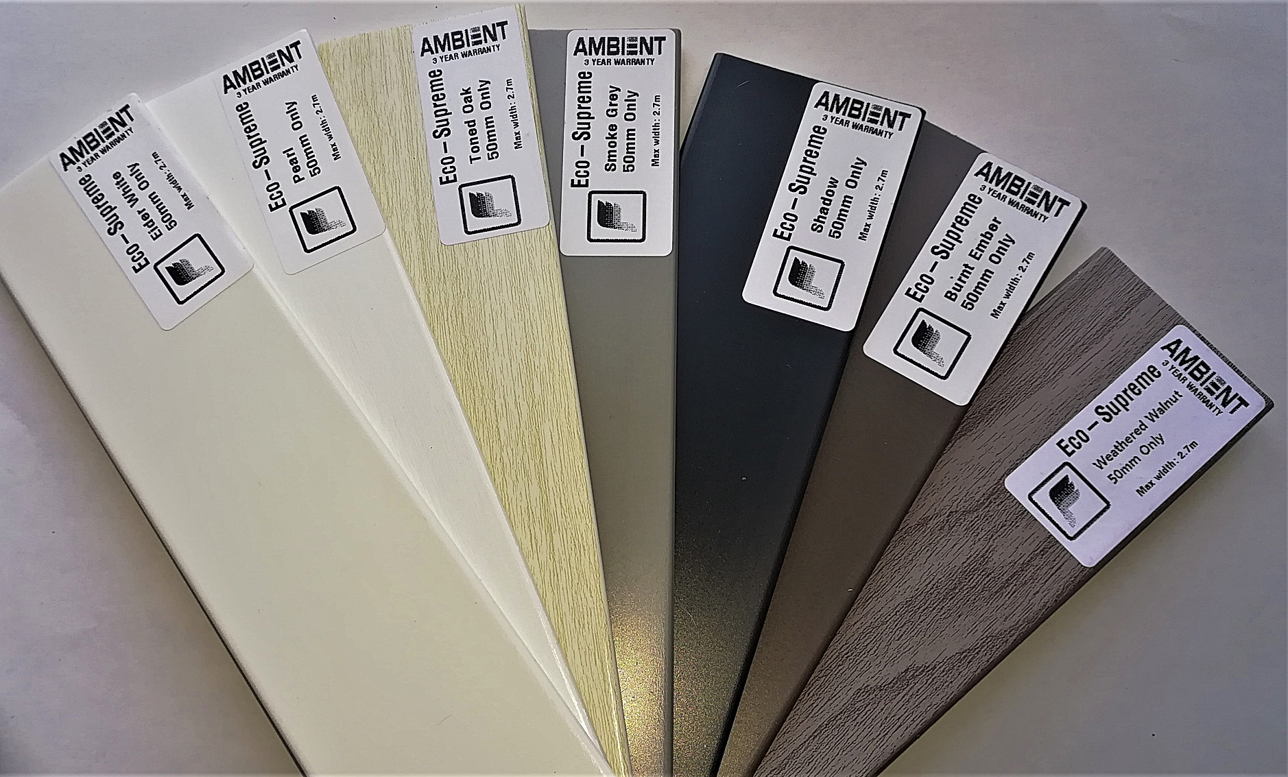 Samples for Eco-Supreme Venetian Blinds - Blind Specialist